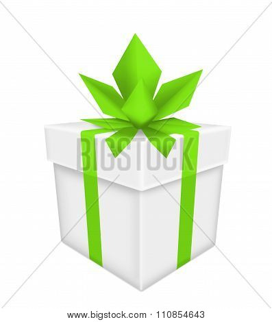 White Gift Box With Green Bow And Ribbon Isolated On White Background