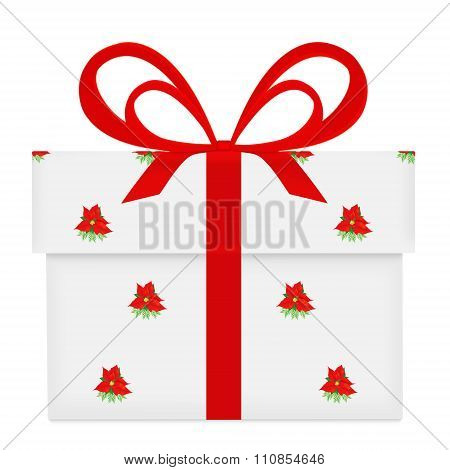 White Gift Box With Red Bow And Ribbon Poinsettia Pattern Wrapped Isolated On White