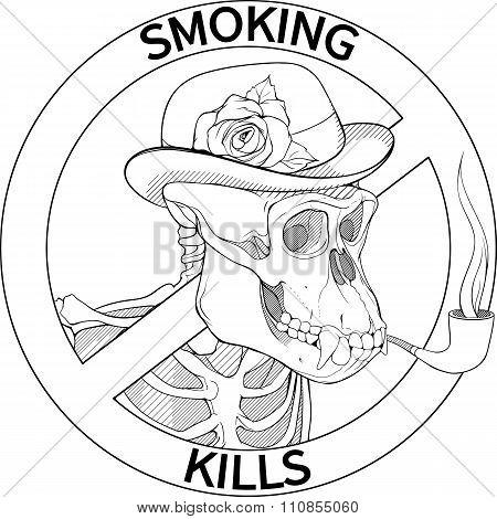 black and white no-smoking sing with gorilla's skeleton smoking