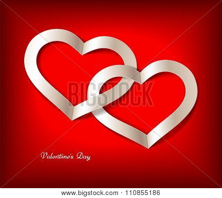 Red Valentine's Day Background With White Heart. Editable Blend Options.