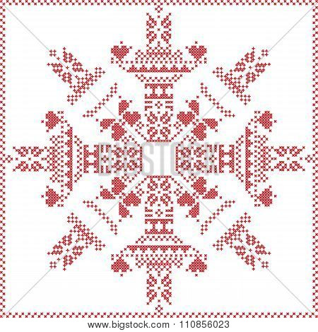 Scandinavian Nordic winter stitch, knitting  christmas pattern in  in  snowflake shape , with cross