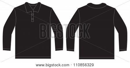 Black Long Sleeve Polo Shirt Design Template