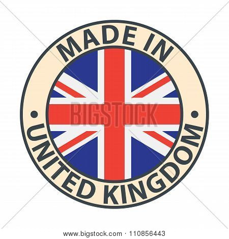 Made in United Kingdom badge with flag