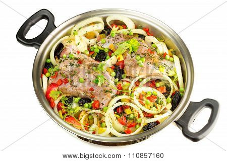 Healthy Food, Uncooked Dietary Rabbit Meat With Various  Vegetables In Pan, Isolated On White Backgr