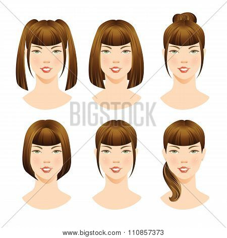 illustrations of beautiful brunette girls with various hair styles.