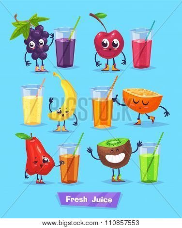 set of fruit characters and fresh juice. Vector cute cartoons