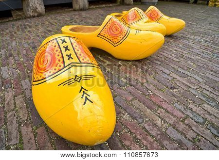 Yellow Wooden Clogs From Holland