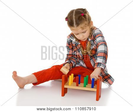 little girl in a Montessori environment