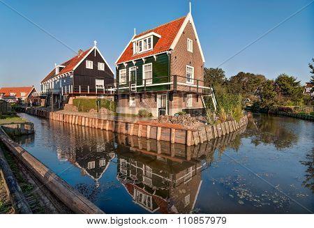Typical Dutch Houses In Fisherman Village Marken