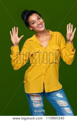 Woman showing nine fingers