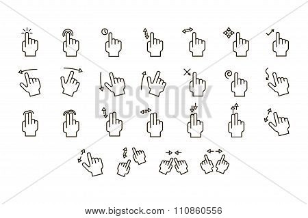 Touch Screen Gestures icons Set. Line art. Stock vector.