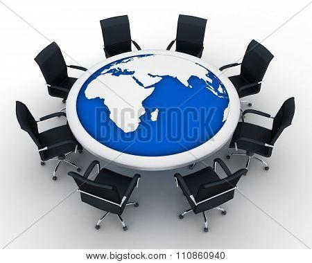 Circular Table And Abstract Earth