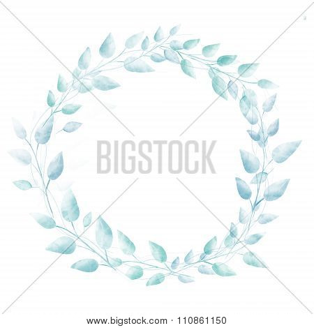 Pastel blue watercolor leaves wreath. Subtle hand drawn natural frame.