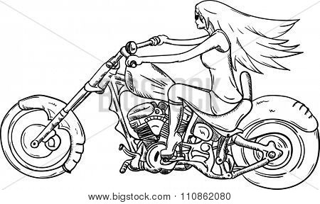 vector - Girl riding on a motorcycle, isolated on background