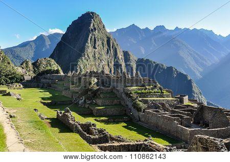 Building Ruins At Machu Picchu, The Sacred City Of Incas, Peru