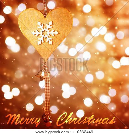 Christmastime greeting card, best wishes with love on winter holidays, stylish wooden heart shape toy with snowflake ornament on blurry glitter background