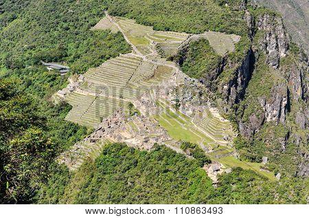 Aerial View Of Machu Picchu, The Sacred City Of Incas, Peru