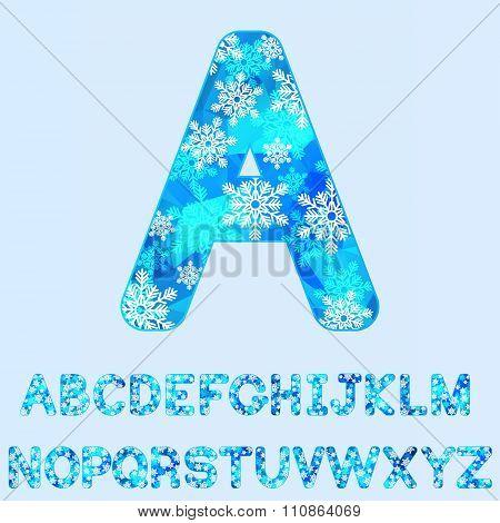 Polygonal snowy alphabet