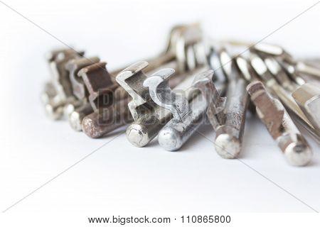 Group Of Keys Macro On White Background
