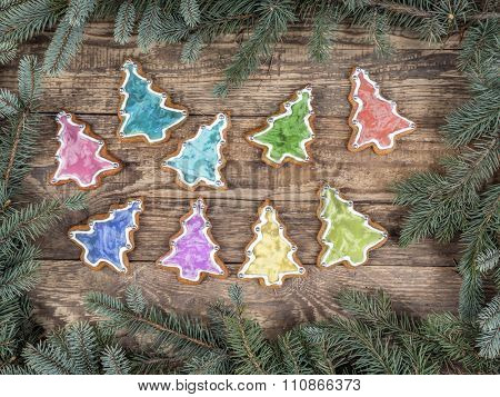 Christmas framework arranged from spruce branches placed on wooden rustic boards with seasonal shape gingerbread cookies with colorful icing