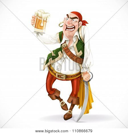 Drunken Pirate With A Glass Of Beer Is Based On The Sword Isolat
