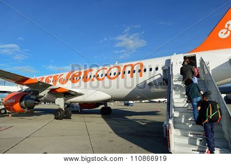 GENEVA, SWITZERLAND - NOVEMBER 19, 2015: easyJet Switzerland aircraft at Geneva Airport. EasyJet Switzerland SA is a Swiss low-cost airline. It operates scheduled flights as an EasyJet franchise