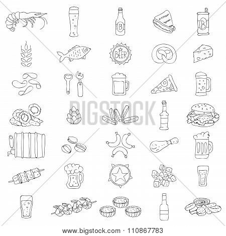 Vector beer icons. Food and beverages