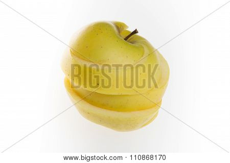 Yellow Sliced Apple, Isolated On White Background