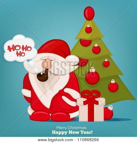 Santa Claus With A Bag Smoking And Saying Ho