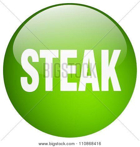 Steak Green Round Gel Isolated Push Button