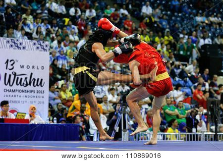 JAKARTA, INDONESIA: NOVEMBER 14, 2015: Lee Wei Loong from malaysia (red) fights Uchit Sharma from India (black) in the men's 52kg Sanda (kick-boxing) event at the 13th World Wushu Championship 2015.