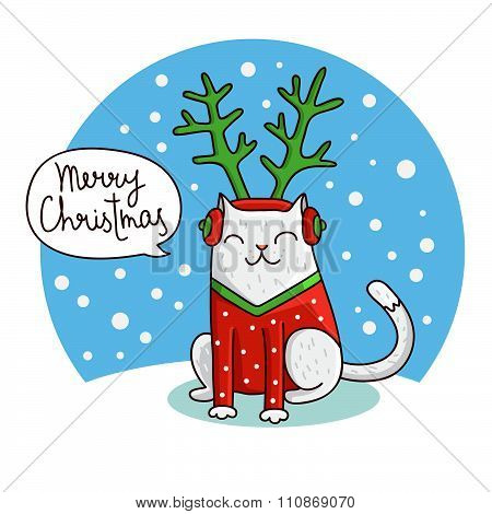 Cute Christmas cat in the hat