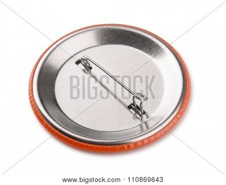 Back side of button pin badge isolated on white