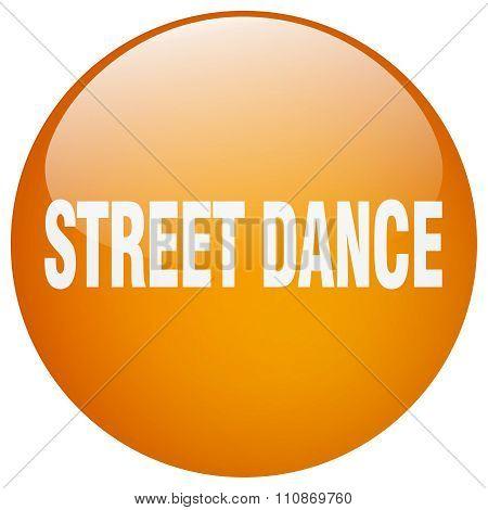 Street Dance Orange Round Gel Isolated Push Button
