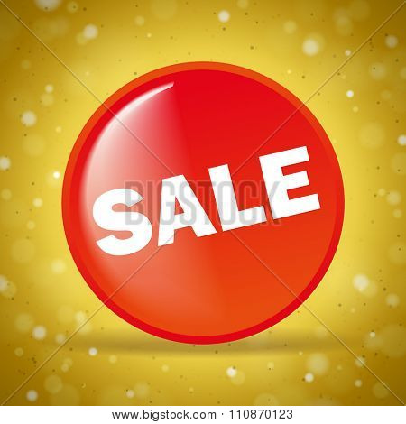 Red sale round icon on the golden background