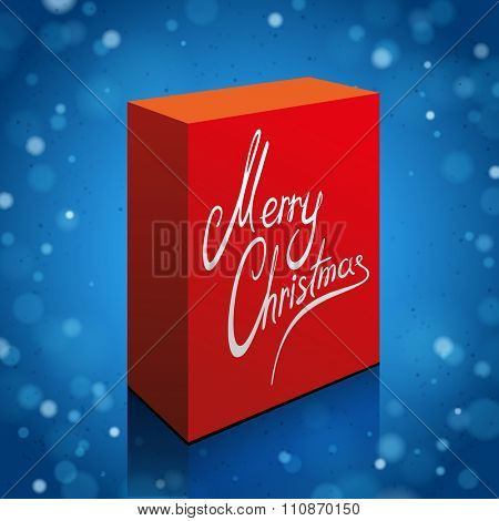 Red Box with Merry Christmas Text on the Blue Shine Background