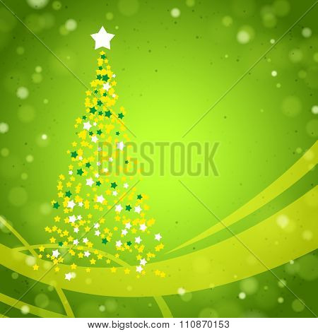 Green Christmas Background with Christmas Tree created by Stars