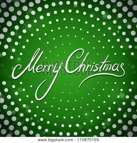 Merry Christmas green dot greeting card