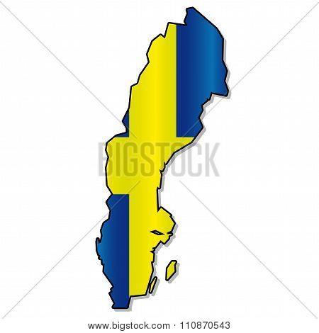 Swedish flag map