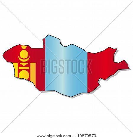 Mongolia flag map