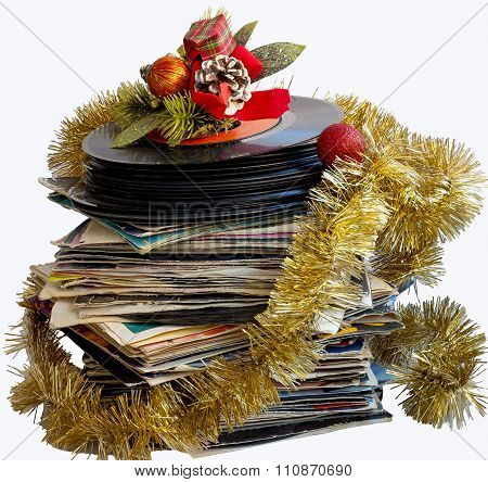 Christmas still life with a vinyl disc and balls