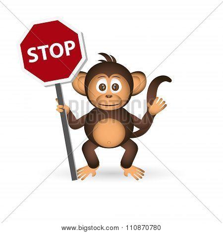 Cute Chimpanzee Little Monkey Holding Stop Sign Eps10