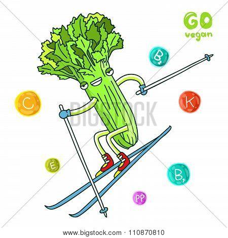 Cute celery goes skiing