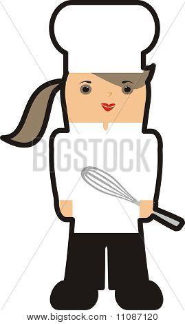 Batedor de cozinha do contorno menina chef feminino