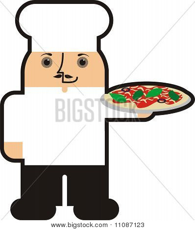 Fat Italian male man pizza chef