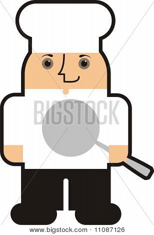 Outline male man chef frying pan skillet