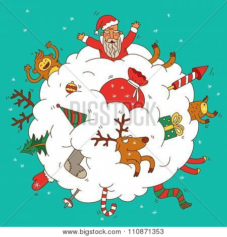 Snowball with Santa and gifts