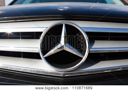 MALAGA, SPAIN - DECEMBER 2, 2015: Mercedes Benz car logo in the front grid. s a German automobile manufacturer, a multinational division of the German manufacturer Daimler AG.