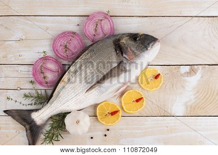 Fresh dorado with vegetables and spices
