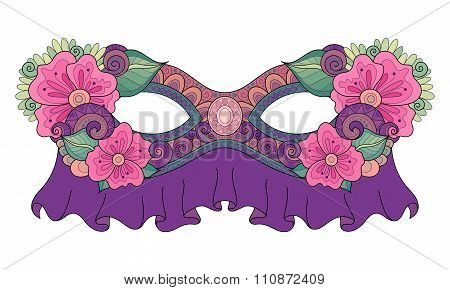 Vector Ornate Colored Mardi Gras Carnival Mask With Decorative Flowers